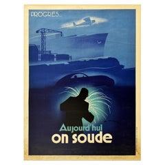 Original Vintage Poster Welding Progress Today Car Boat Plane Train Art Industry