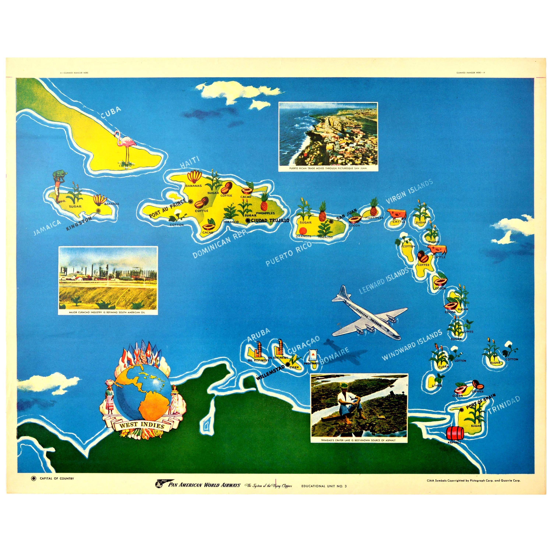 Original Vintage Poster West Indies Pan American Airways Educational Travel Map