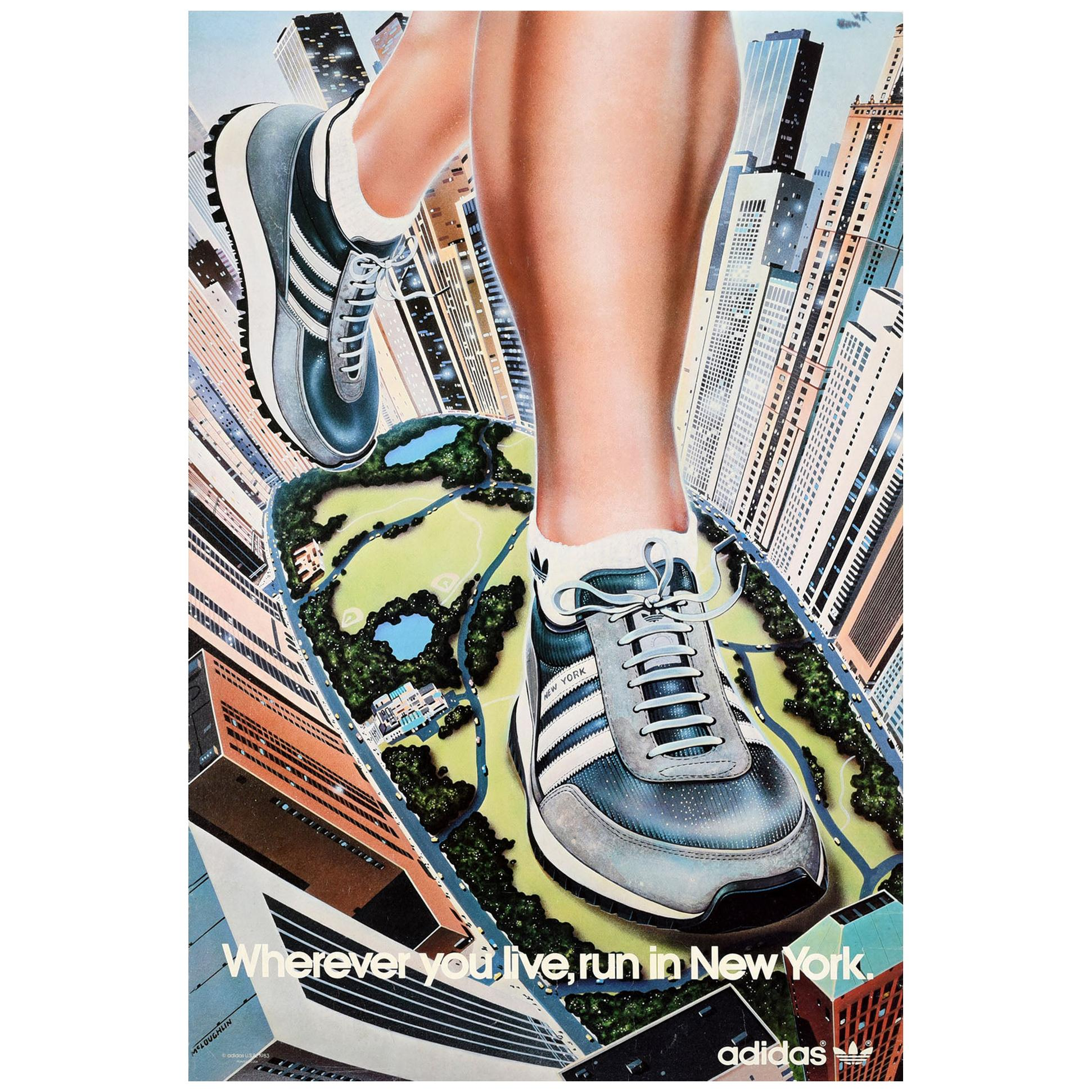 Original Vintage Poster Wherever You Live Run In New York Adidas Originals Shoes For Sale At 1stdibs