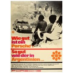 Original Vintage Poster Wie Gut Ist Ein Porsche 911 Sports Car Rally Argentina