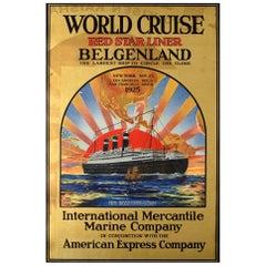 Original Vintage Poster World Cruise Red Star Line Belgenland Luxury Travel Ship