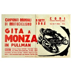 Original Vintage Poster World Motorcycling Championships Monza 1962 Sport Event
