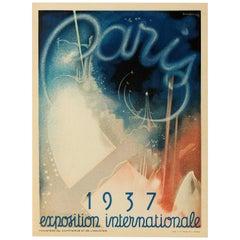 Original Vintage Poster World's Fair Paris 1937 Exposition Internationale France
