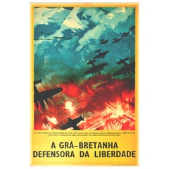Original Vintage Poster WWII Defender Of Freedom RAF Bombers Italian Alps Planes
