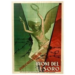 Original Vintage Poster WWII Treasury Bills Vittoria Victory War Bonds Italy