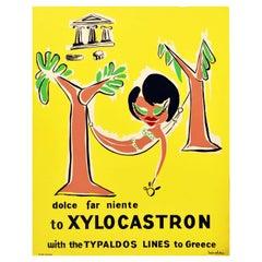 Original Vintage Poster Xylocastron Greece Holiday Cruise Travel Typaldos Lines