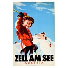 Original Vintage Poster Zell Am See Austria Mountain Winter Sport Skiing Travel