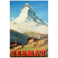 Original Vintage Poster Zermatt Switzerland Matterhorn Mountain Cervin Travel