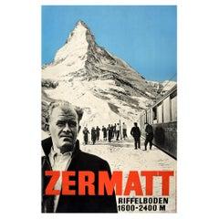 Original Vintage Poster Zermatt Switzerland Matterhorn Swiss Alps Skiing Travel
