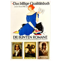 Original Vintage Posters Quality Books Oscar Wilde Gustave Flaubert Roman Bucher