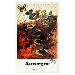 Original Vintage Railway Poster Auvergne By Dali For SNCF Butterfly Abstract Art