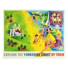 Original Vintage Railway Poster Explore The Yorkshire Coast Countryside By Train