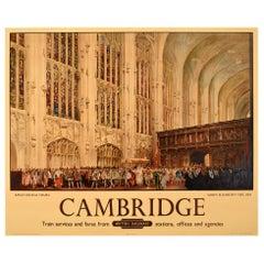 Original Vintage Railway Poster Queen Elizabeth I King's College Cambridge 1564