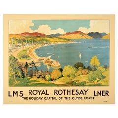 Original Vintage Railway Poster Royal Rothesay Isle Of Bute Clyde Coast Scotland