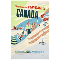 Original Vintage Railway Poster Snowtime Is Playtime In Canada Winter Sport Ski