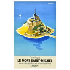 Original Vintage Railway Poster Visitez Le Mont Saint Michel SNCF Train Travel