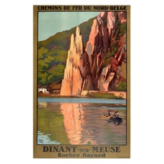 Original Vintage Railway Travel Poster Dinant Sur Meuse Rocher Bayard Rock Belge