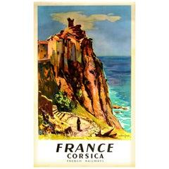 Original Vintage Railway Travel Poster France Corsica Mediterranean Sea Island