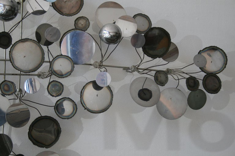 Mid-Century Modern Original Vintage Raindrops Wall Sculpture in chrome by C. Jere For Sale