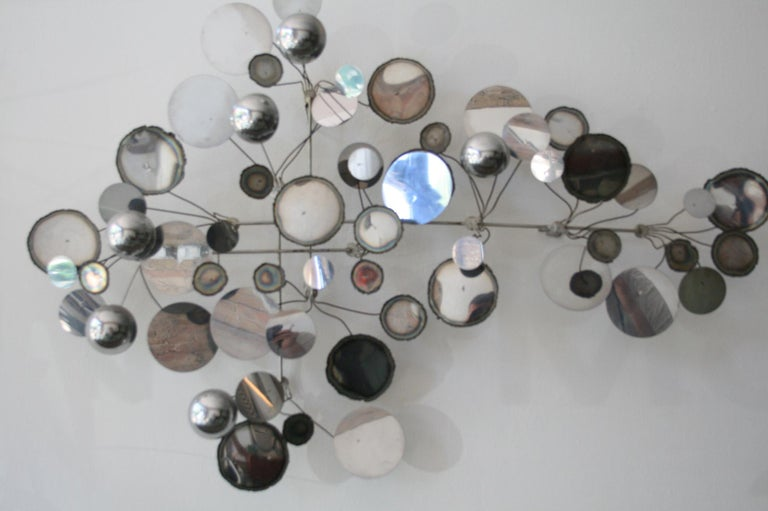 Metal Original Vintage Raindrops Wall Sculpture in chrome by C. Jere For Sale
