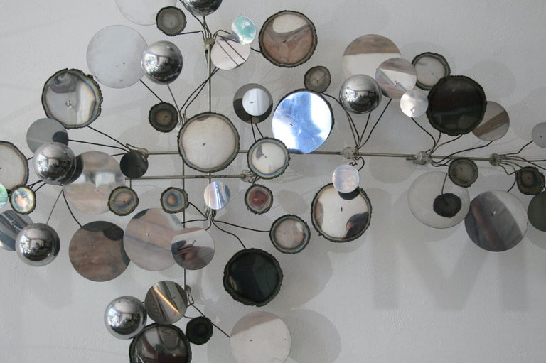 Original Vintage Raindrops Wall Sculpture in chrome by C. Jere For Sale 1