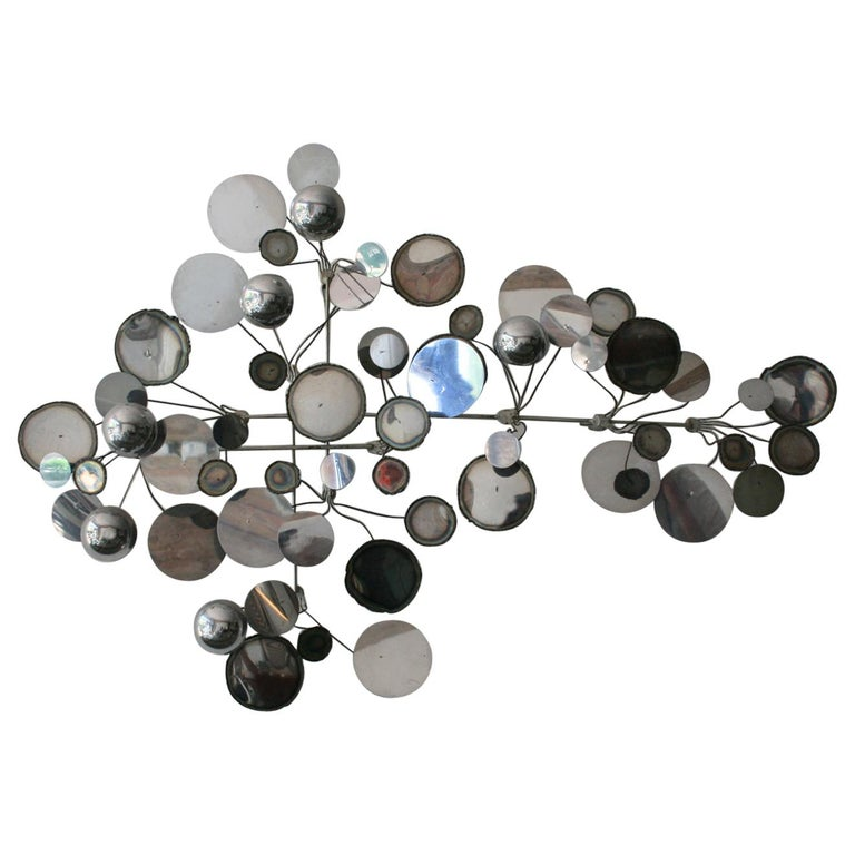 Original Vintage Raindrops Wall Sculpture in chrome by C. Jere For Sale