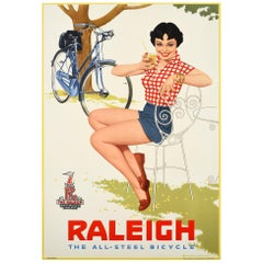 Original Vintage Raleigh the All-Steel Bicycle Poster Midcentury Pin-Up Style Ad