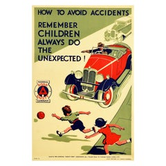 Original Vintage Road Safety Poster Avoid Accidents Classic Car Children Warning