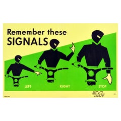 Original Vintage Road Safety Poster Remember These Signals Motorcycle Driving