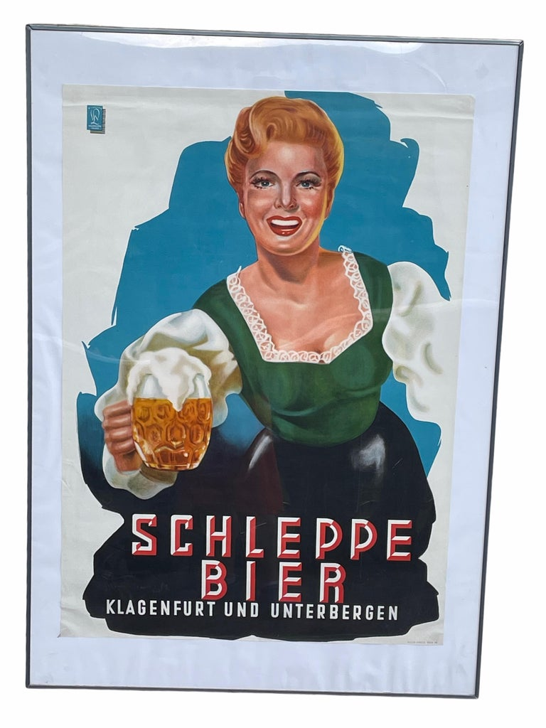A beautiful lithographed Poster for Schleppe Bier Advertising. It is featuring a great image of an Austrian woman in original costume who serves half a beer. Published by Werbung, Walter Lickel in Villach and printed by Piller Druck, Vienna Wien.