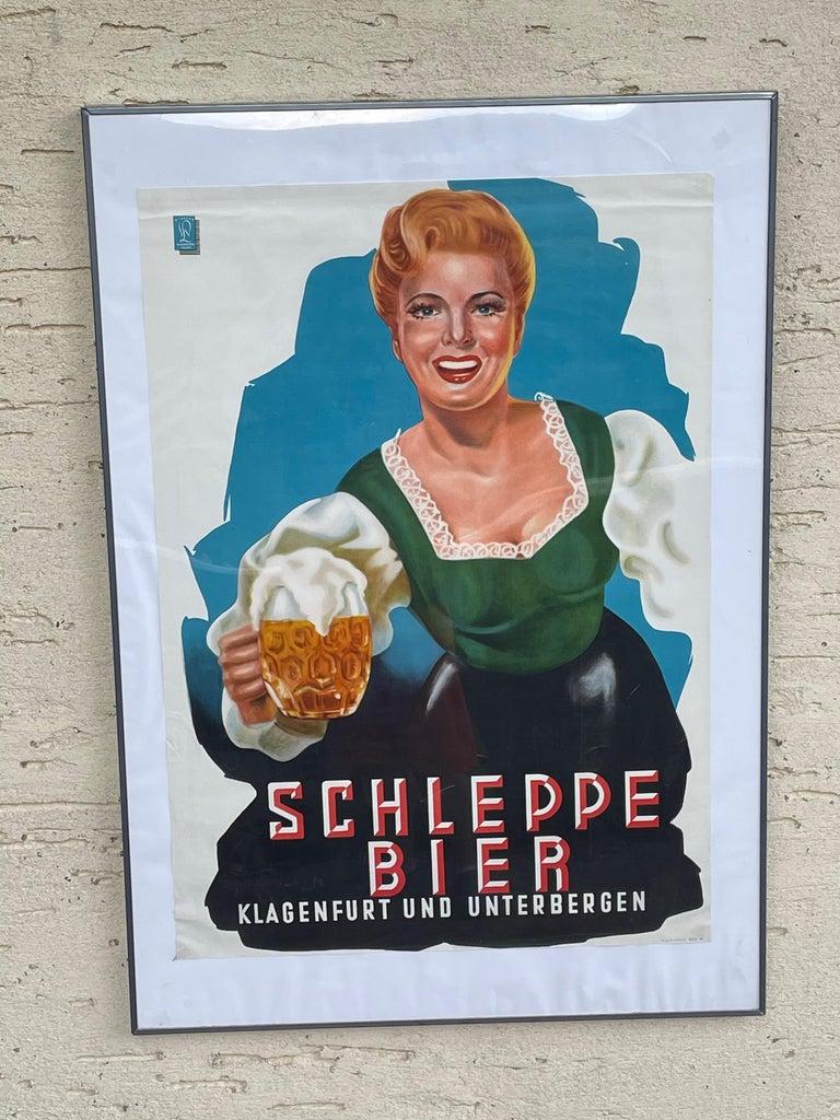 Mid-Century Modern Original Vintage Schleppe Bier Poster Austria Beer Advertising, 1950s For Sale