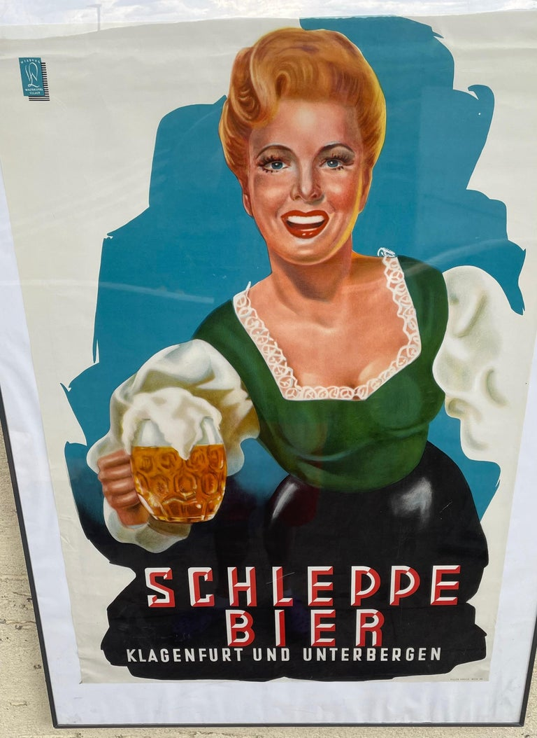 Mid-20th Century Original Vintage Schleppe Bier Poster Austria Beer Advertising, 1950s For Sale