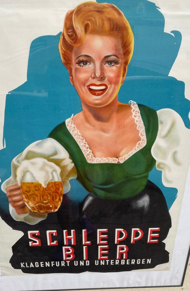 Paper Original Vintage Schleppe Bier Poster Austria Beer Advertising, 1950s For Sale