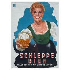 Original Vintage Schleppe Bier Poster Austria Beer Advertising, 1950s