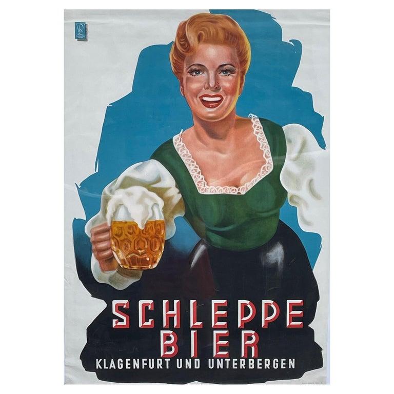 Original Vintage Schleppe Bier Poster Austria Beer Advertising, 1950s For Sale