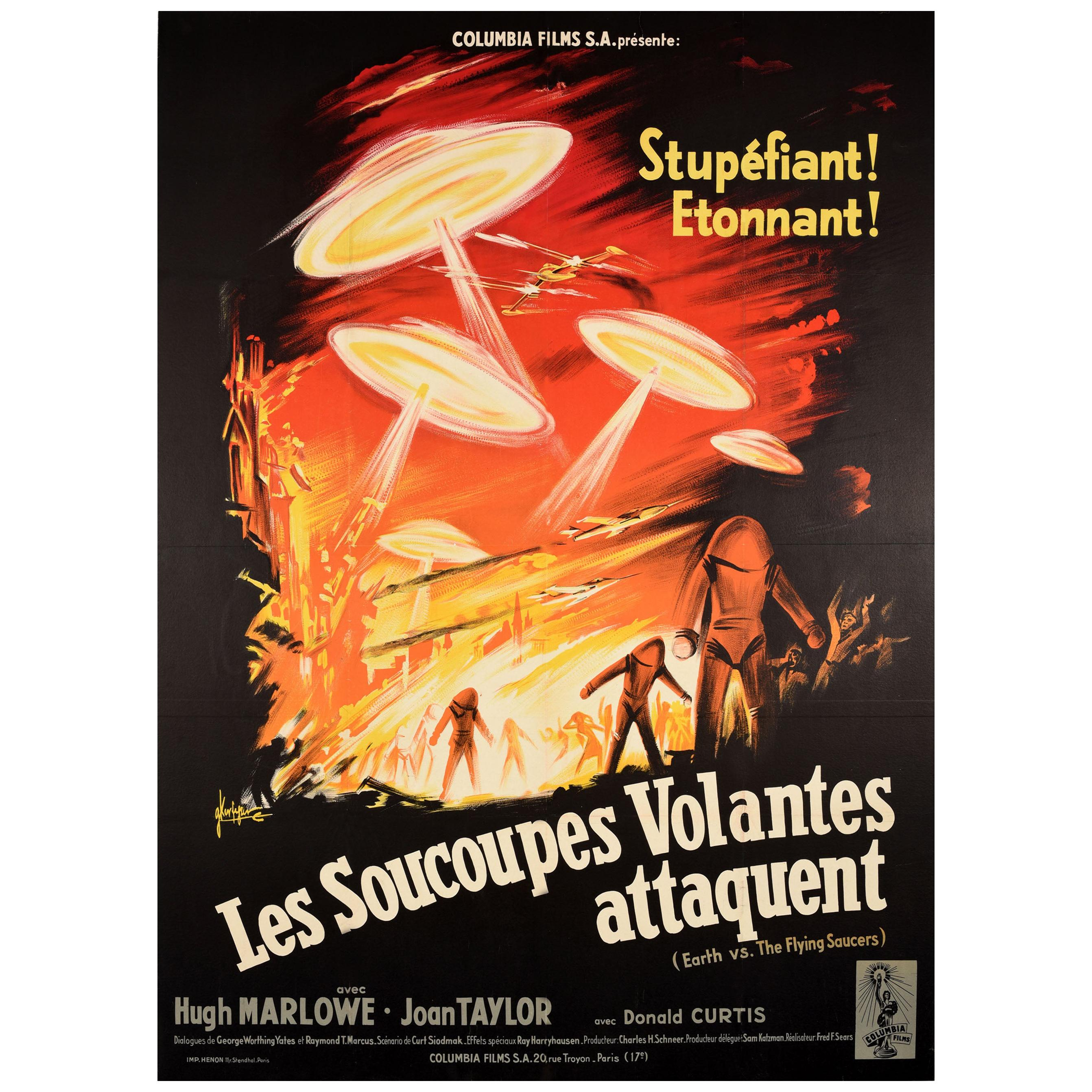 Original Vintage Science Fiction Film Poster Earth vs. the Flying Saucers Sci-Fi