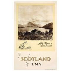Original Vintage Scotland By LMS Poster - Loch Maree Ben Slioch Edinburgh Castle