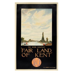 Original Vintage SE & Chatham Railway Poster Fair Land Of Kent the River Medway