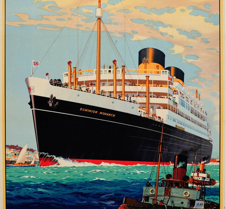 British Original Vintage Shaw Savill Lines Cruise Liner Travel Poster Dominion Monarch For Sale
