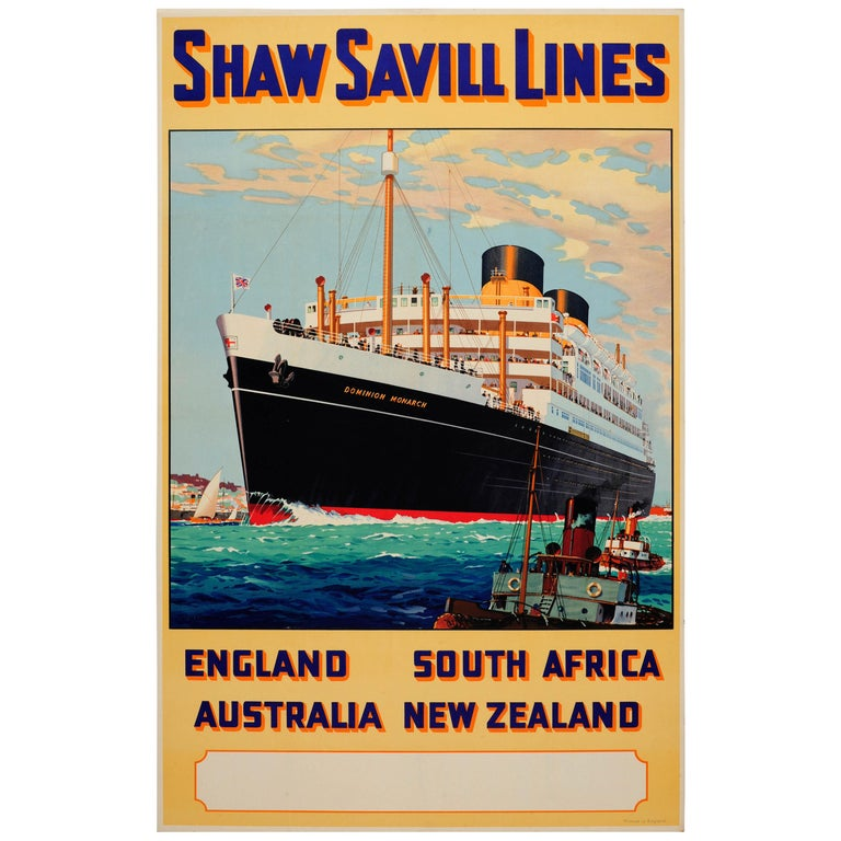 Original Vintage Shaw Savill Lines Cruise Liner Travel Poster Dominion Monarch For Sale