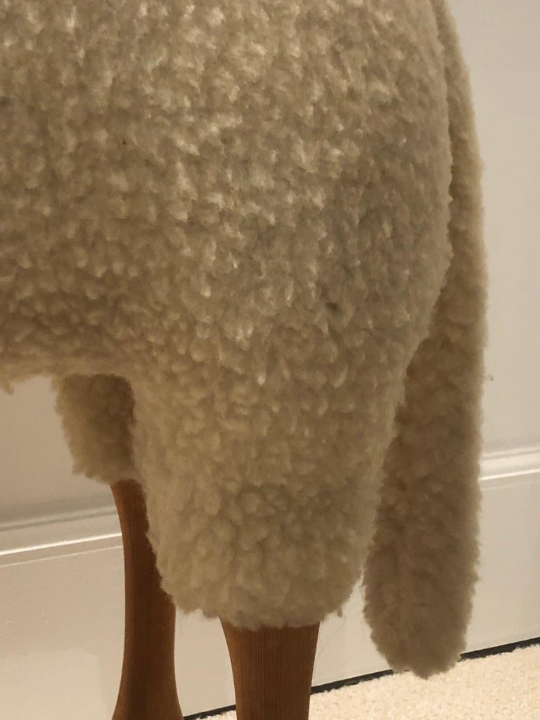 Leather Original Vintage Sheep Stool by Hanns Peter Krafft for Meier, 1970s For Sale