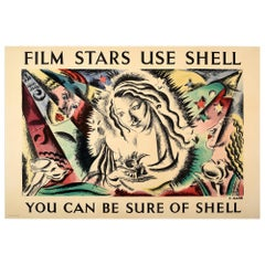 Original Vintage Shell Poster Film Stars Use Shell You Can Be Sure Of Shell
