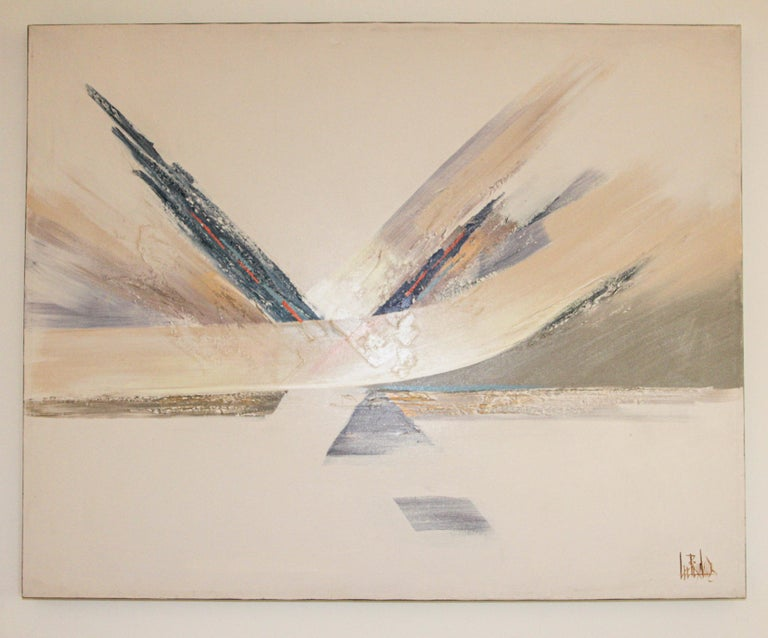 Original Vintage Signed Lee Reynolds Textured Abstract Painting For Sale 7