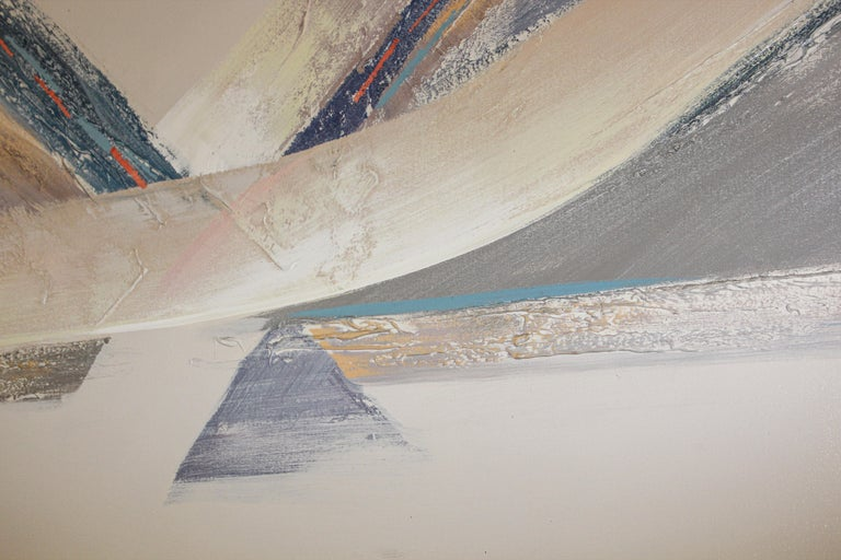 Original Vintage Signed Lee Reynolds Textured Abstract Painting In Good Condition For Sale In North Hollywood, CA