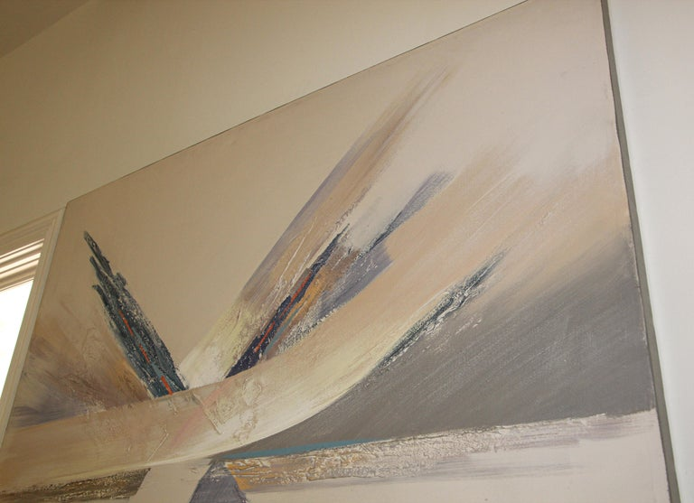 20th Century Original Vintage Signed Lee Reynolds Textured Abstract Painting For Sale