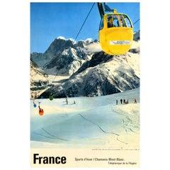 Original Vintage Ski Poster Chamonix Mont Blanc France Winter Sports d'Hiver