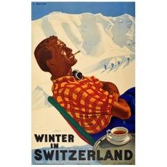 Original Vintage Ski Poster Winter In Switzerland Swiss Railways Travel Sport