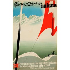 Original Vintage Ski Poster Winter Sport in Switzerland Sports d'Hiver En Suisse
