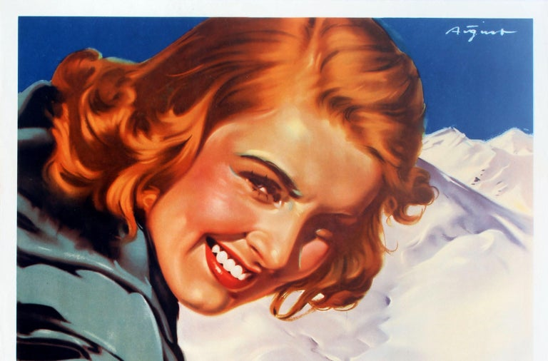 Original vintage travel advertising poster in German: Winter Pleasures in Austria / Winterfreuden in Osterreich. Fantastic artwork by Paul Aigner (1909-1984) featuring a smiling young lady wearing warm clothing and leaning on her ski pole in the