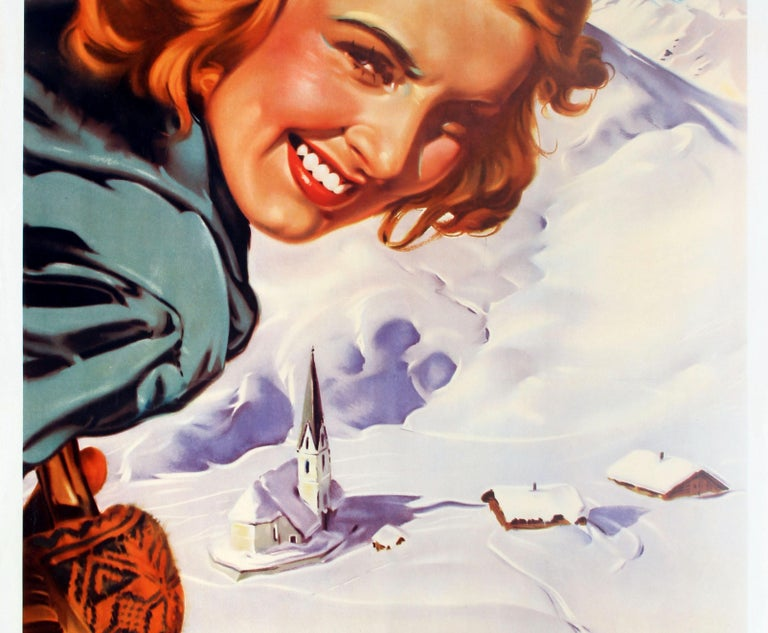 Austrian Original Vintage Skiing Poster by Aigner Winter Pleasures in Austria Osterreich For Sale